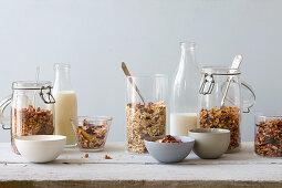 Muesli granola in storage jars