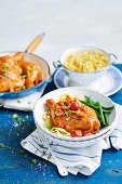 Chicken Paprikash with tagliatelle and vegetables