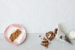 Chocolate spicy muesli bar and two chocolates flapjacks
