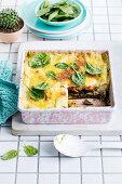 Vegan roast vegetable and pesto lasagne