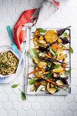 Vegan roasted root vegies with couscous