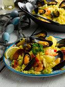 Mussel, king prawn and chorizo paella