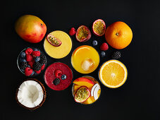 Different smoothies with fruits