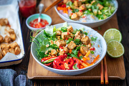 Bun cha salad with tofu (Vietnam)
