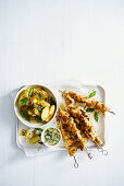 Turmeric chicken skewers with chilli and coconut sambal