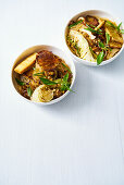 Stir-fried sweet potato noodles with tofu