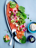 Yuzu and ginger cured salmon with wasabi leaves