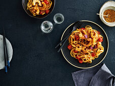 Fettuccine with prawns, tomato and sake-soy-butter