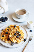 Belgian waffles with blueberries for coffee