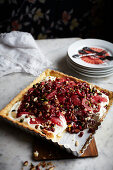Pie with blood orange, pomegranate and pistachios