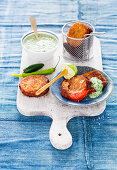 Tomato and cheese fritters with herb dip