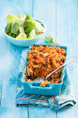 Pasta bake with bolognese sauce and cheese
