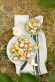 Potato salad with radishes and chives