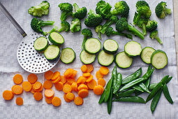 Mixed vegetables being prepared for freezing – being drained