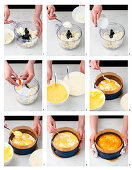 A pumpkin cheesecake being made