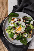 Savoury Waffles with Feta, Spinach, Avocado, Olives and Fried egg