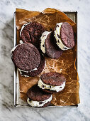Mint and Chocolate Ice Cream Sandwiches