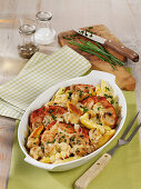 Kasseler mushroom casserole with potato noodles