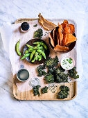 Sweet Potato Crisps and Miso Kale Chips with Wasabi Dipping Sauce