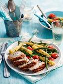 Grilled Pork Ember with Cooked Vegetables