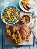 Indian Style Butterflied Lamb Leg with Minty Salad and Mango Chutney