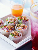 Asian summer rolls with chicken and vegetables