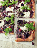 Ricotta blackberry pizza with basil