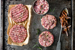 Oriental lamb patties, Mediterranean pork patties and pulled lamb