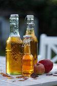 Apple juice in swing-top bottles
