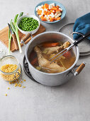 Chicken broth as a soup base