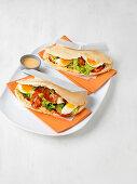 Savoy kebab with egg and chorizo