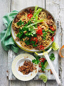 Pork larb with broccolini and noodles