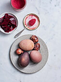 Eggs dyed with beets and beet powder