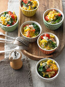 Baked pasta pots with nuts and vegetables