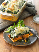 Spinach and sweet potato casserole with minced meat