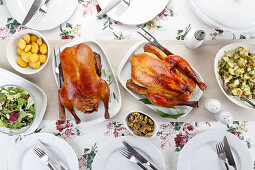Roasted duck and chicken with sides