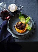 Venison ragout on pumpkin puree with savoy cabbage (Christmas)