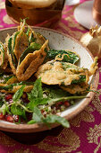 Fried spinach on salad (India)