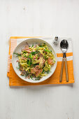 North Sea pasta with crab and smoked salmon