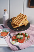 Hearty waffles with caprese
