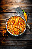 Leek and carrot quiche