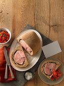 Prague ham in a loaf of bread