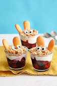 Layered berry parfait with Easter bunny crumble