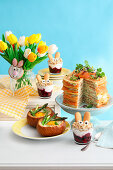 Easter brunch with pancake cake
