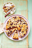 Sunken cherry cake with flaked almonds