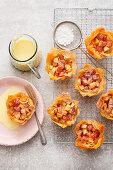 Mini Apple strudel tarts with vanilla sauce
