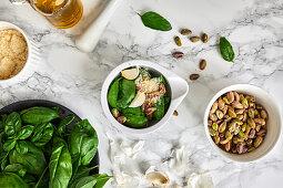 Ingredients for basil and arugula pesto