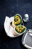 Vegan Spinach Tofu Scramble Wraps 'To Go'