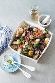 Mediterranean toasted bread salad with vegetables