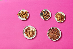 Five waffle dishes